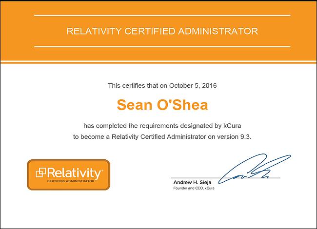 RCA Certificate - Sean O'Shea